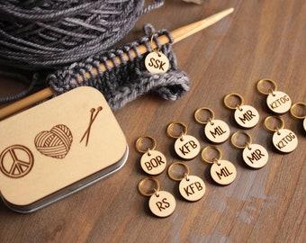 Knitting Instruction Abbreviation Stitch Markers and Storage Tin- Peace, Love, Knit/ Knitting Accessories/ Knitting Gifts/ Stitch Markers