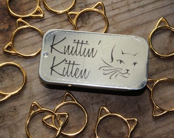 Large Snag Free Gold Cat Stitch Markers with Storage Tin
