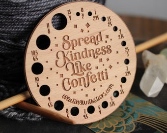 Knitting Needle Gauge Kindness- Laser Engraved Beech Wood Knitting Needle Gauge- Gift for Knitter- Knitting Accessory- Knitting Tool