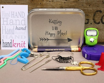 Knitter's Notions and Tool Box- Knitting is my Happy Place, Project Bag Tool Tin, Knitting Notions, Knitting Tool Box