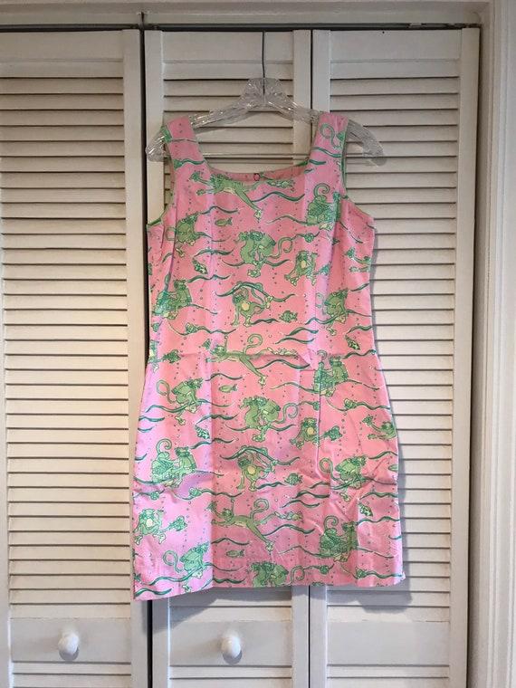 Lilly Pulitzer Vintage Pink Green Monkey Cotton Su