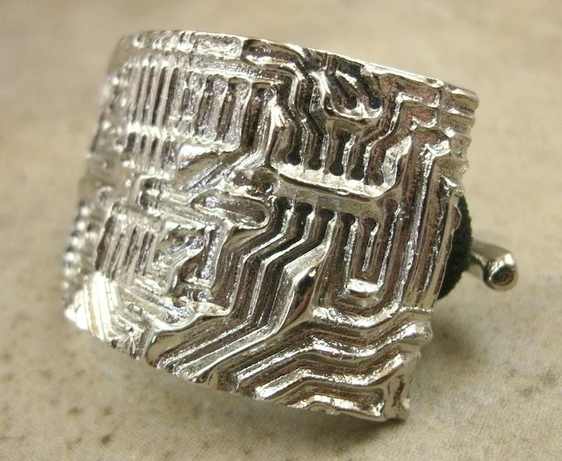 Cyberpunk Ponytail Holder  Scraf Holder Circuit Board Hair Accessory Hacker Silvertone Metal Geeky Girl Hair Jewelry Sci Fi Fashion