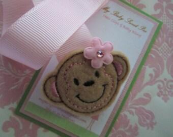 pacifier holder - pacifier clip - pink mod monkey pacifier clip holder