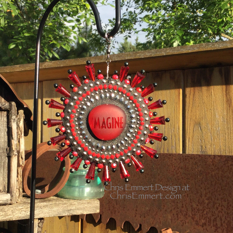 Imagine Garden Spinner Red Rays Home Decor Garden Decor | Etsy