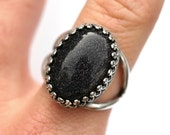 Blue Goldstone Ring - Adjustable sizes 5-10