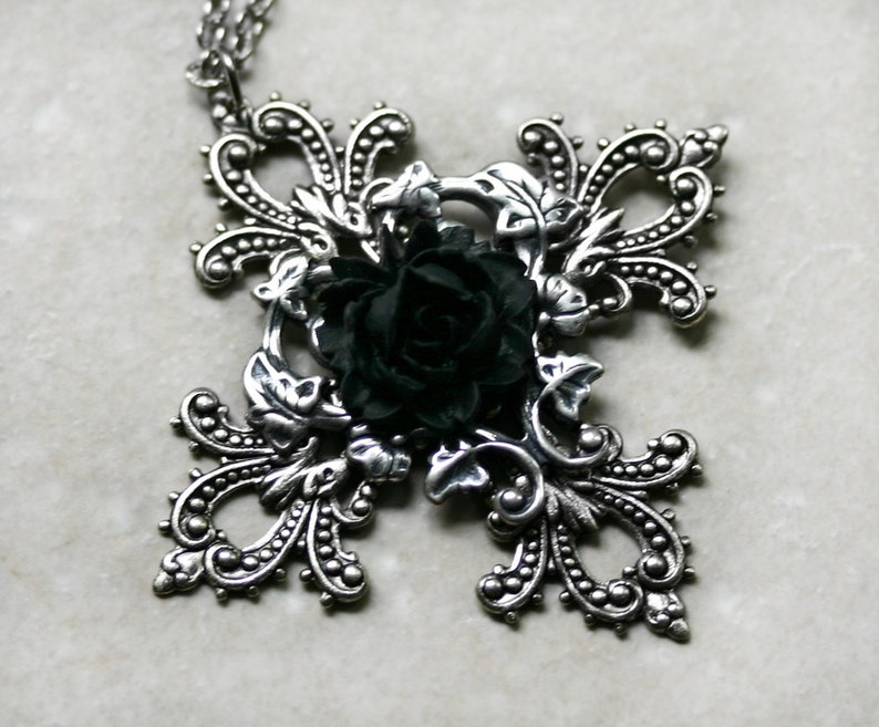 Gothic Cross with Black Rose Necklace