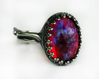 Dragon Breath Fire Opal Ring - Adjustable 5-10