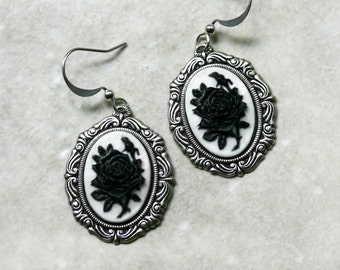 Victorian Gothic Black Rose Cameo Earrings