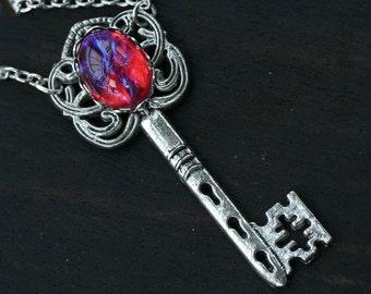 Dragon Breath Key Necklace - Mexican Fire Opal