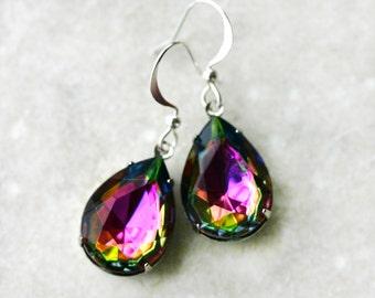 Mystic Topaz Earrings - Rainbow Vitrail Teardrops