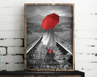 Red Umbrella Print  | Girl with Red Umbrella Print | Train Tracks Print | wall art | Street wall art | Home Decor |