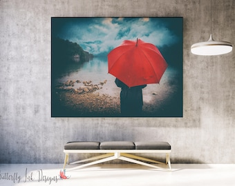Red Umbrella on beach Print  | Beach with Red Umbrella Print | Red Umbrella | wall art |  | Home Decor | Beach Print