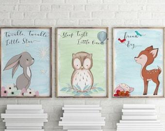 Woodland animal print, nursery prints, 3 pack, nursery wall art, woodland animals, wall art, nursery decor