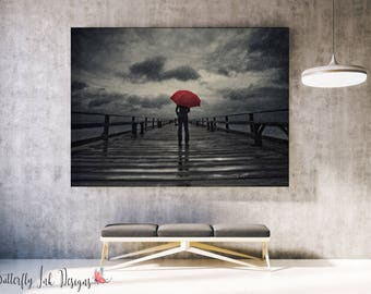 Red Umbrella Print  | Man in storm with Red Umbrella Print | Storm Print | wall art |  | Home Decor | Pier | Jetty