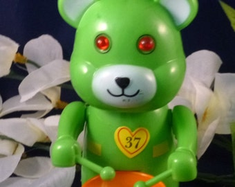 Vintage Wind Up Toy Green Bear Playing Drum, 1995