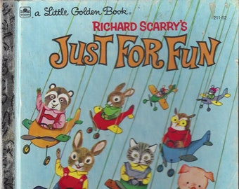 Vintage Richard Scarry's Just For Fun Little Golden Book Children's Book, C1960