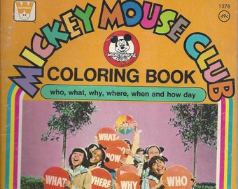 Vintage Mickey Mouse Club Children's Coloring Book, 1977