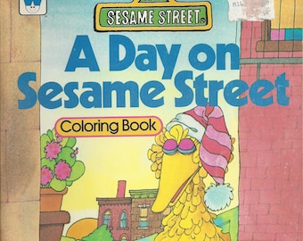 Vintage Sesame Street A Day on Sesame Street Children's Coloring Book, 1979