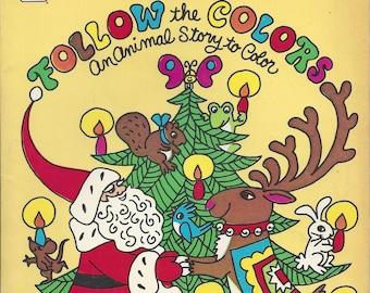 Vintage Whitman Santa's Follow the Colors Children's Coloring Book, 1979