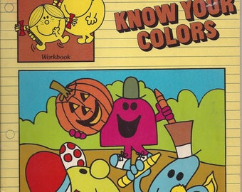 Vintage Mr. Men and Little Miss Workbook Know Your Colors Children's Coloring/Activity Book, 1982