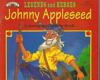 Vintage Legends and Heroes Johnny Appleseed Coloring/Activity Book, 1994 (1 page colored)