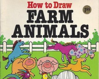 Vintage How to Draw Farm Animals Children's Book, 1983