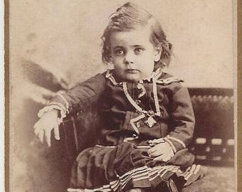 Vintage Little Girl Carte de Visite (CDV) L.W. Felt Photographer, 1800s