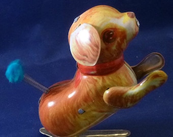 Vintage Jumping Dog Wind Up Tin Toy, 1970s
