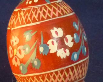 Vintage Hand Painted Wooden Egg Pysanka Decor, 1970s