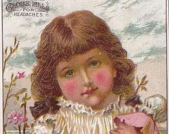 Vintage Globe Pills Lithograph Victorian Trade Card, 1800s
