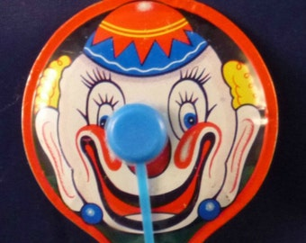 Vintage Clown Tin Noisemaker Toy, 1960s