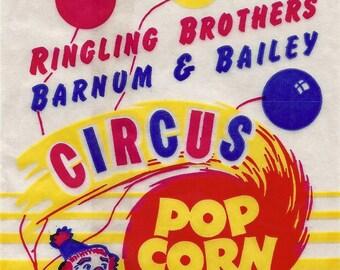Ringling Bros. Barnum and Bailey Vintage Circus Popcorn Bag, 1950's