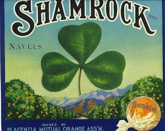 Shamrock Sunkist Navels Vintage Crate Label, 1930's