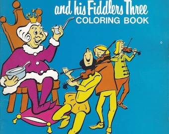 Old King Cole And His Fiddlers Three Vintage Coloring Book C1960s