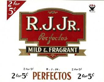 R.J. Jr. Perfectos Vintage Cigar Label, circa 1900s
