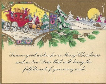 Vintage Christmas & New Year Gold Embossed Greeting Card, 1930s