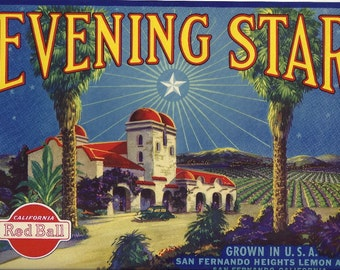 Evening Star Vintage Crate Label, 1930's
