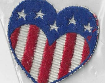 Vintage Red White & Blue Heart Applique, 1970s