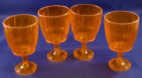 Jeu gobelet verres vintage en plastique transparent Orange pour enfants, des années 1960 (par 4)