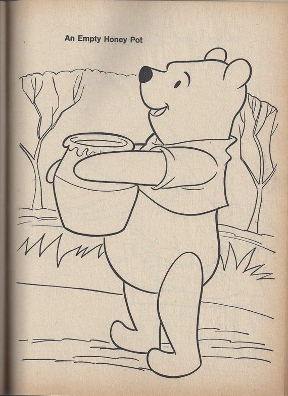 Vintage Winnie-the-Pooh y Eeyore cumpleaños para colorear | Etsy