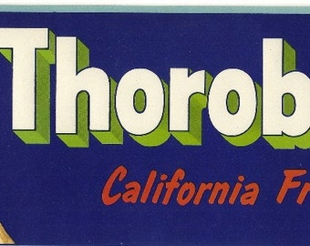 Thorobreds Vintage Crate Label, 1940's