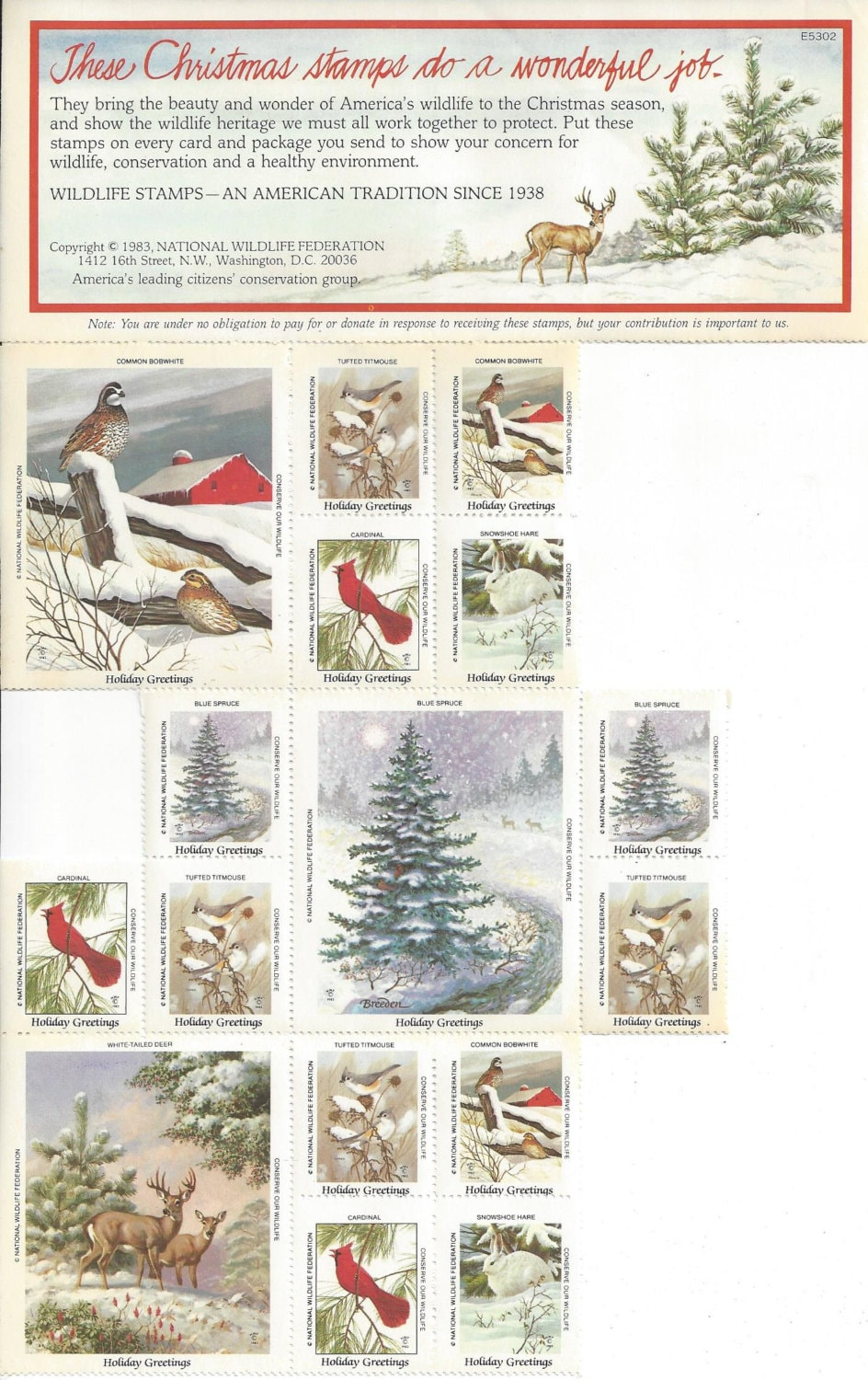 Vintage national wildlife federation stamps holiday etsy image 0 m4hsunfo