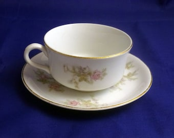 Vintage National China NA129 Cup and Saucer with Pink Roses, 1920-30s
