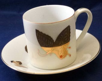 Vintage Takahashi Hand Decorated in Gold Butterflies Porcelain Demitasse Cup and Saucer, 1970s