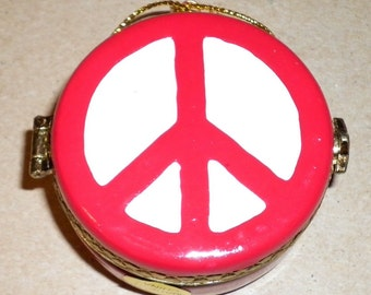 Vintage Porcelain Trinket Box or Ornament with Peace Sign, 1980s