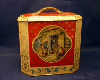 Vintage England Octagon Sweets Candy Biscuit Tin, 1950s (empty)