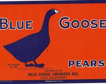 Blue Goose Pears Vintage Crate Label, 1930s