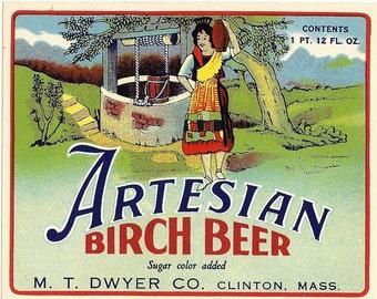 Vintage Artesian Birch Beer Soda Label, 1950s