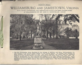 Historic Williamsburg and Jamestown, Virginia Vintage Book Published by John A. Luttrell, 1940s