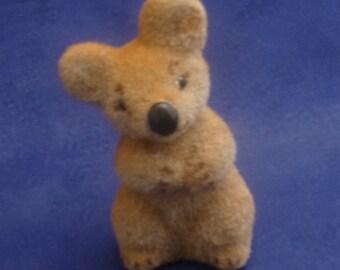 Vintage Wagner Handwork Germany Flocked Koala Bear Miniature Figurine, 1990s